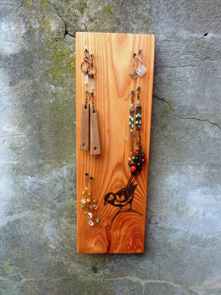 šperky, náušnice, stojánek, organizér, dřevo, bytové doplňky, kresba, domov,fengshui