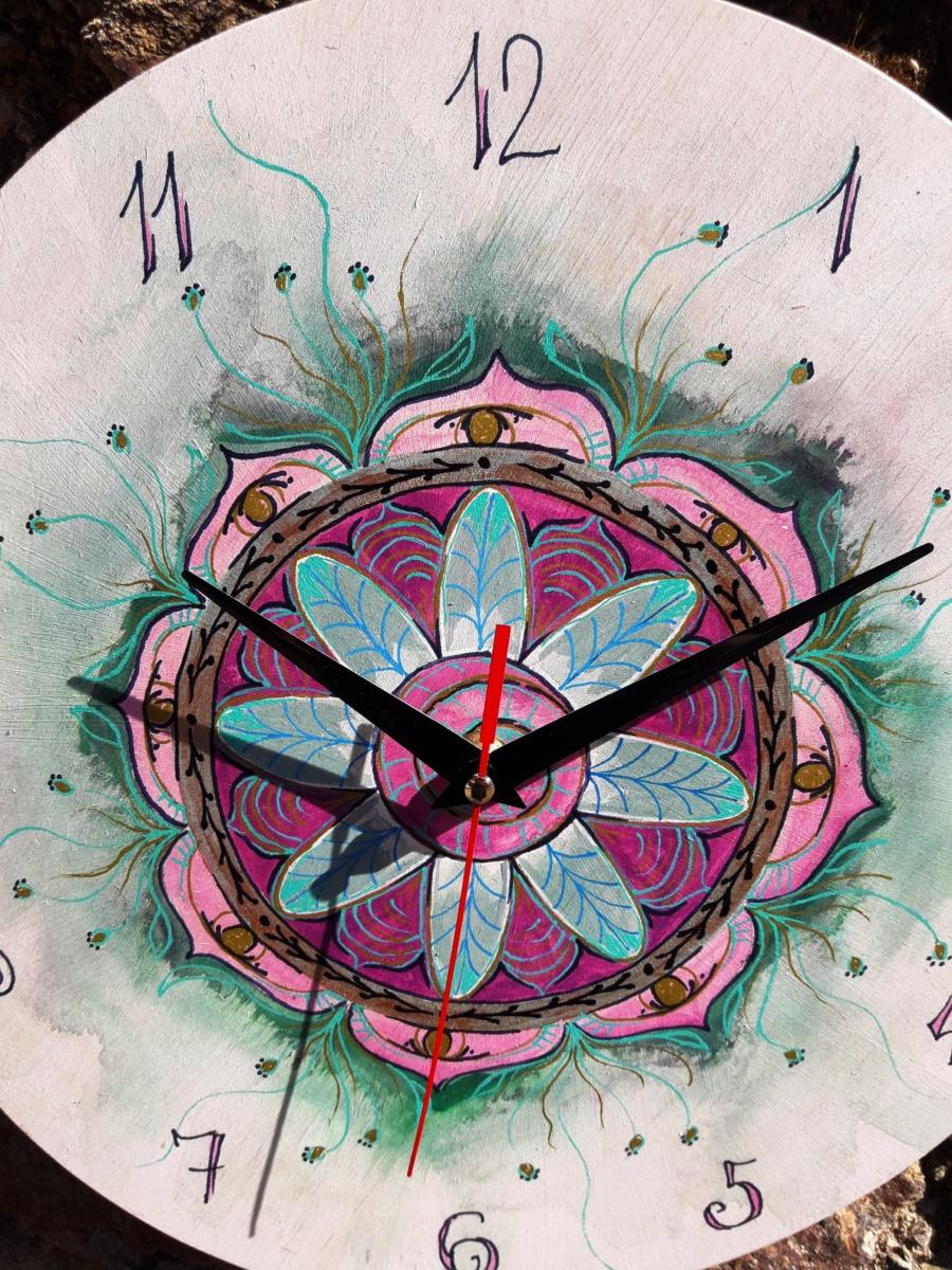 mandala, hodiny, květ