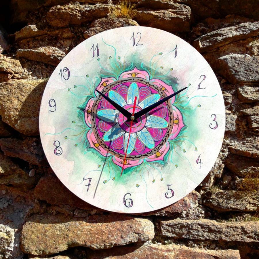 mandala, hodiny, joga, dekorace
